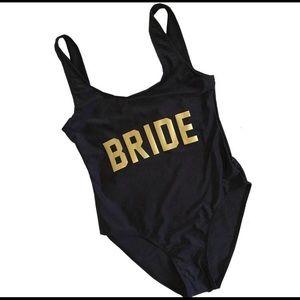 6597f6bde1004 etsy Swim | Bride One Piece Suit Black Gold Size Medium | Poshmark